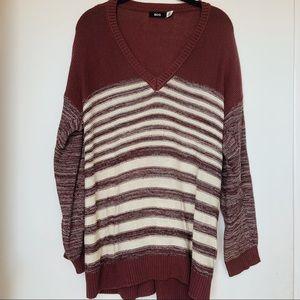 BDG Oversized V-Neck Striped Sweater